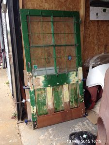 Plumpton Pit Stop door repaired using hardwood