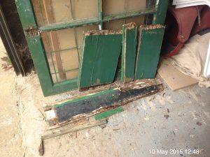 Plumpton Pit Stop door, rotten pieces removed