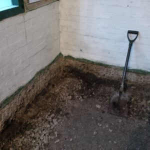 Plumpton Pit Stop removing 300mm of earth under concrete flooor