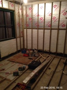 Plumpton Pit Stop floor joists on concrete and battens on walls