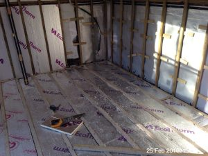Plumpton Pit Stop further insulation to floor and walls